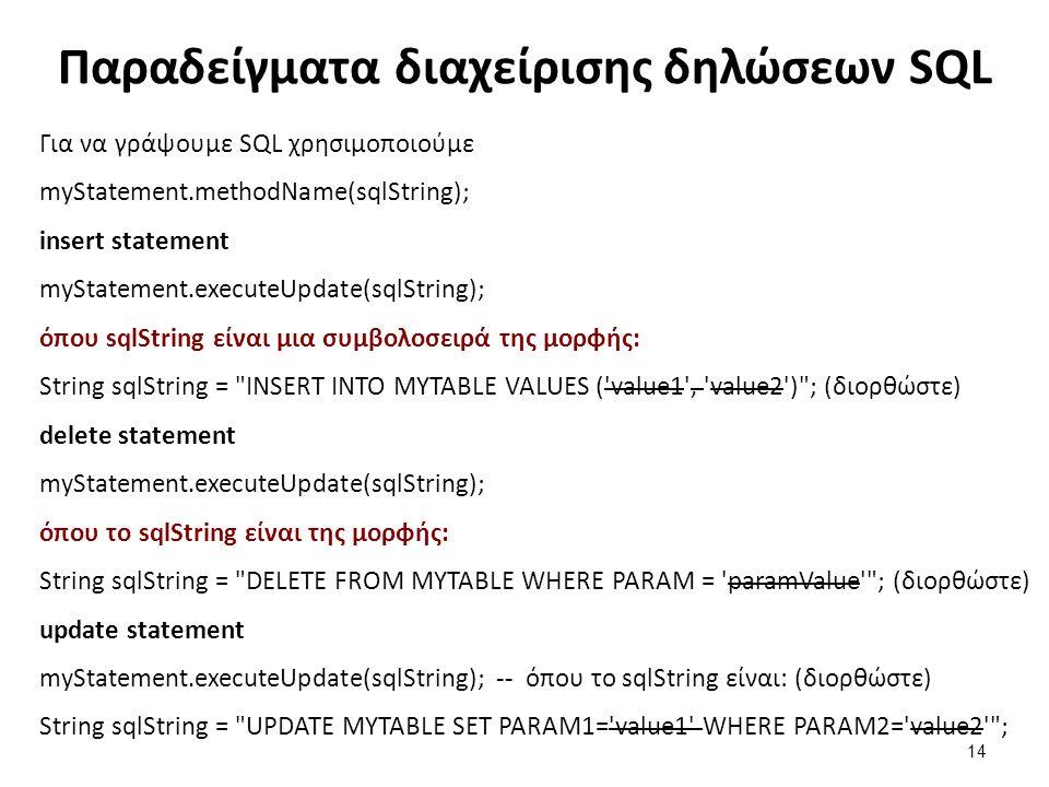 Παραδείγματα διαχείρισης δηλώσεων SQL Για να γράψουμε SQL χρησιμοποιούμε myStatement.methodName(sqlString); insert statement myStatement.executeUpdate
