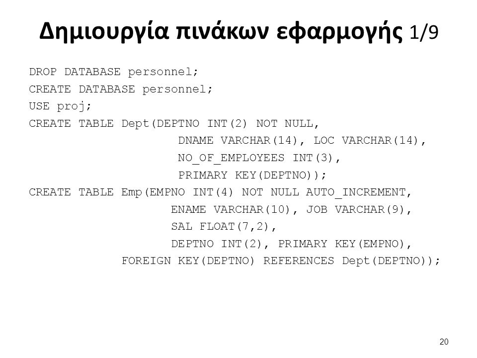 Δημιουργία πινάκων εφαρμογής 1/9 DROP DATABASE personnel; CREATE DATABASE personnel; USE proj; CREATE TABLE Dept(DEPTNO INT(2) NOT NULL, DNAME VARCHAR(14), LOC VARCHAR(14), NO_OF_EMPLOYEES INT(3), PRIMARY KEY(DEPTNO)); CREATE TABLE Emp(EMPNO INT(4) NOT NULL AUTO_INCREMENT, ENAME VARCHAR(10), JOB VARCHAR(9), SAL FLOAT(7,2), DEPTNO INT(2), PRIMARY KEY(EMPNO), FOREIGN KEY(DEPTNO) REFERENCES Dept(DEPTNO)); 20