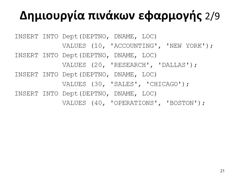 Δημιουργία πινάκων εφαρμογής 2/9 INSERT INTO Dept(DEPTNO, DNAME, LOC) VALUES (10, ACCOUNTING , NEW YORK ); INSERT INTO Dept(DEPTNO, DNAME, LOC) VALUES (20, RESEARCH , DALLAS ); INSERT INTO Dept(DEPTNO, DNAME, LOC) VALUES (30, SALES , CHICAGO ); INSERT INTO Dept(DEPTNO, DNAME, LOC) VALUES (40, OPERATIONS , BOSTON ); 21