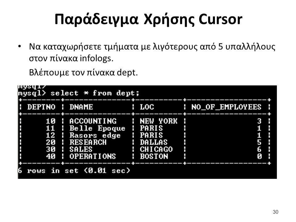 Παράδειγμα Χρήσης Cursor Να καταχωρήσετε τμήματα με λιγότερους από 5 υπαλλήλους στον πίνακα infologs. Βλέπουμε τον πίνακα dept. 30