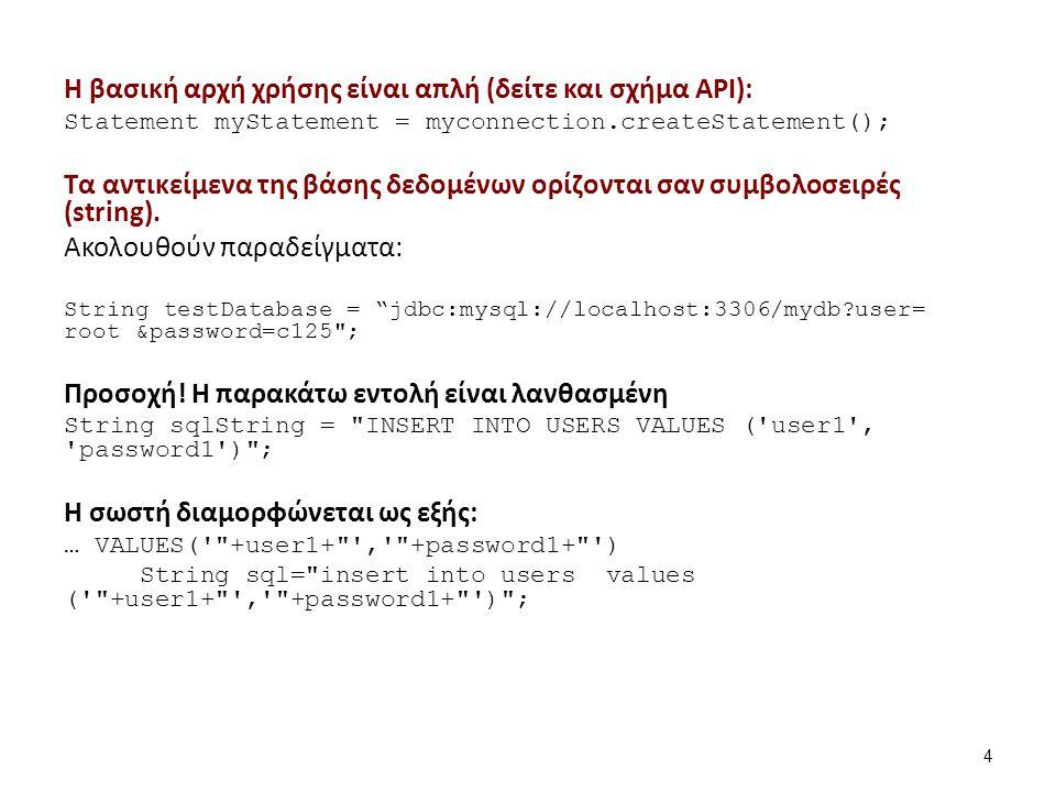 Απλά παραδείγματα χρήσης του API: Η DriverManager Class παρέχει τη μέθοδο getConnection.