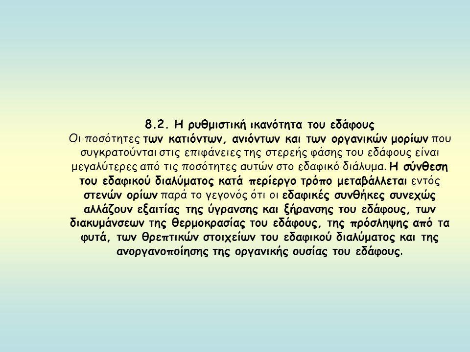 8.2. Η ρυθμιστική ικανότητα του εδάφους Οι ποσότητες των κατιόντων, ανιόντων και των οργανικών μορίων που συγκρατούνται στις επιφάνειες της στερεής φά
