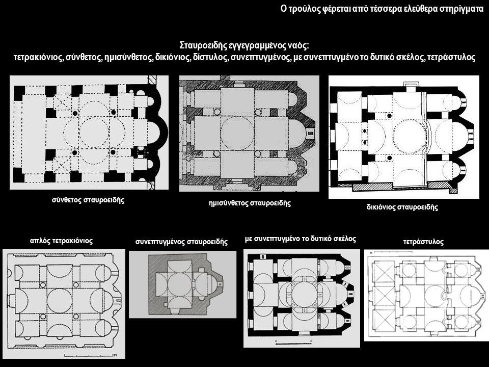 Σταυροειδής εγγεγραμμένος ναός: τετρακιόνιος, σύνθετος, ημισύνθετος, δικιόνιος, δίστυλος, συνεπτυγμένος, με συνεπτυγμένο το δυτικό σκέλος, τετράστυλος σύνθετος σταυροειδής ημισύνθετος σταυροειδής δικιόνιος σταυροειδής απλός τετρακιόνιος με συνεπτυγμένο το δυτικό σκέλος συνεπτυγμένος σταυροειδήςτετράστυλος Ο τρούλος φέρεται από τέσσερα ελεύθερα στηρίγματα