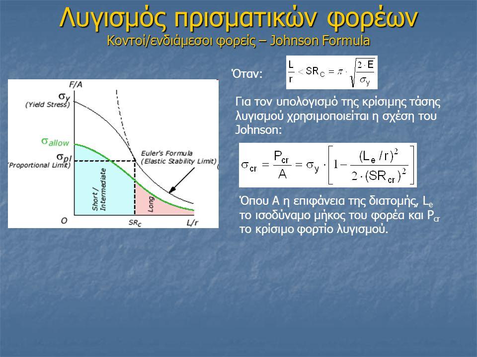 Λυγισμός πρισματικών φορέων Κοντοί/ενδιάμεσοι φορείς – Johnson Formula Για τον υπολογισμό της κρίσιμης τάσης λυγισμού χρησιμοποιείται η σχέση του Johnson: Όταν: Όπου Α η επιφάνεια της διατομής, L e το ισοδύναμο μήκος του φορέα και P cr το κρίσιμο φορτίο λυγισμού.