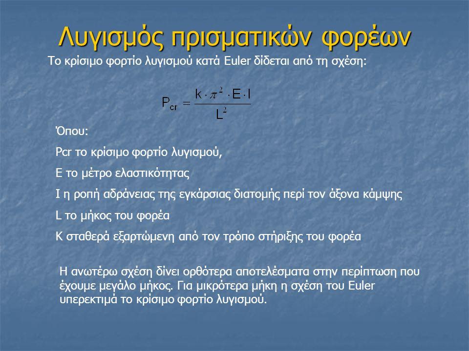 Λυγισμός πρισματικών φορέων Το κρίσιμο φορτίο λυγισμού κατά Euler δίδεται από τη σχέση: Όπου: Pcr το κρίσιμο φορτίο λυγισμού, Ε το μέτρο ελαστικότητας Ι η ροπή αδράνειας της εγκάρσιας διατομής περί τον άξονα κάμψης L το μήκος του φορέα K σταθερά εξαρτώμενη από τον τρόπο στήριξης του φορέα Η ανωτέρω σχέση δίνει ορθότερα αποτελέσματα στην περίπτωση που έχουμε μεγάλο μήκος.