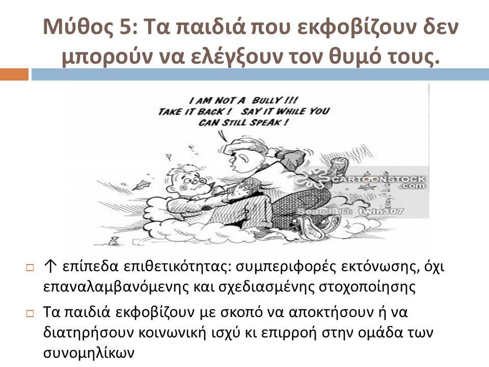 Μύθος 5: Τα παιδιά που εκφοβίζουν δεν μπορούν να ελέγξουν τον θυμό τους.  ↑ επίπεδα επιθετικότητας : συμπεριφορές εκτόνωσης, όχι επαναλαμβανόμενης κα