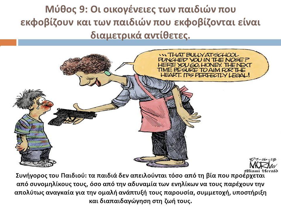 Μύθος 9: Οι οικογένειες των παιδιών που εκφοβίζουν και των παιδιών που εκφοβίζονται είναι διαμετρικά αντίθετες. Συνήγορος του Παιδιού: τα παιδιά δεν α