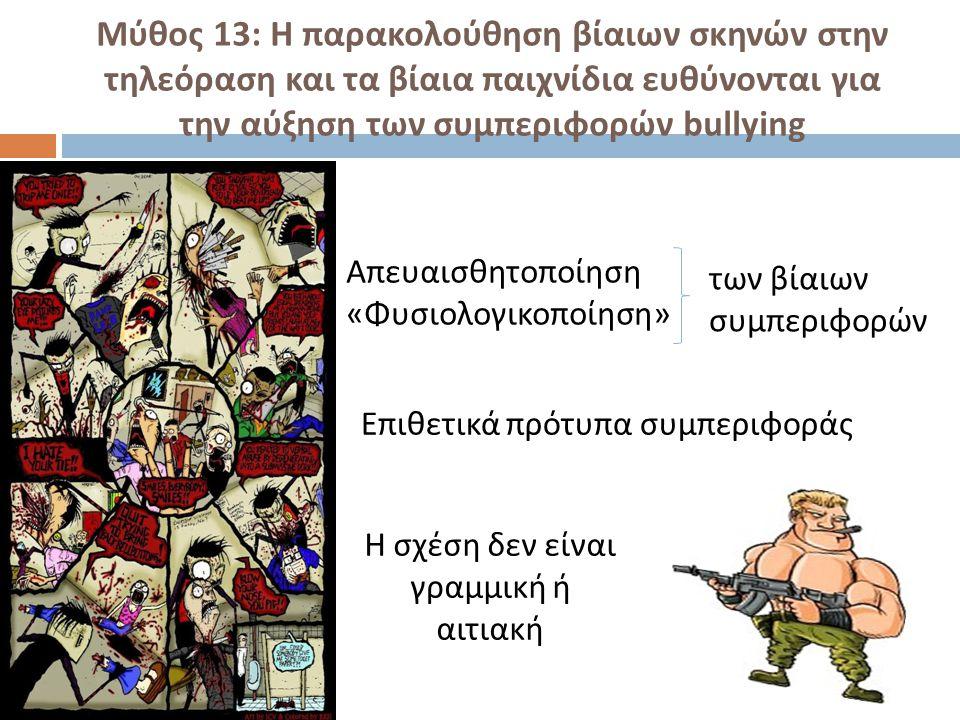Μύθος 13: Η παρακολούθηση βίαιων σκηνών στην τηλεόραση και τα βίαια παιχνίδια ευθύνονται για την αύξηση των συμπεριφορών bullying Απευαισθητοποίηση «Φ