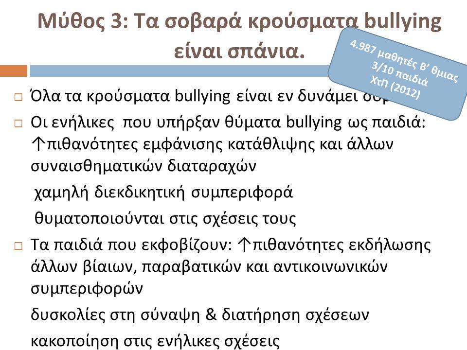 Μύθος 3: Τα σοβαρά κρούσματα b ullying είναι σπάνια.  Όλα τα κρούσματα bullying είναι εν δυνάμει σοβαρά  Οι ενήλικες που υπήρξαν θύματα bullying ως