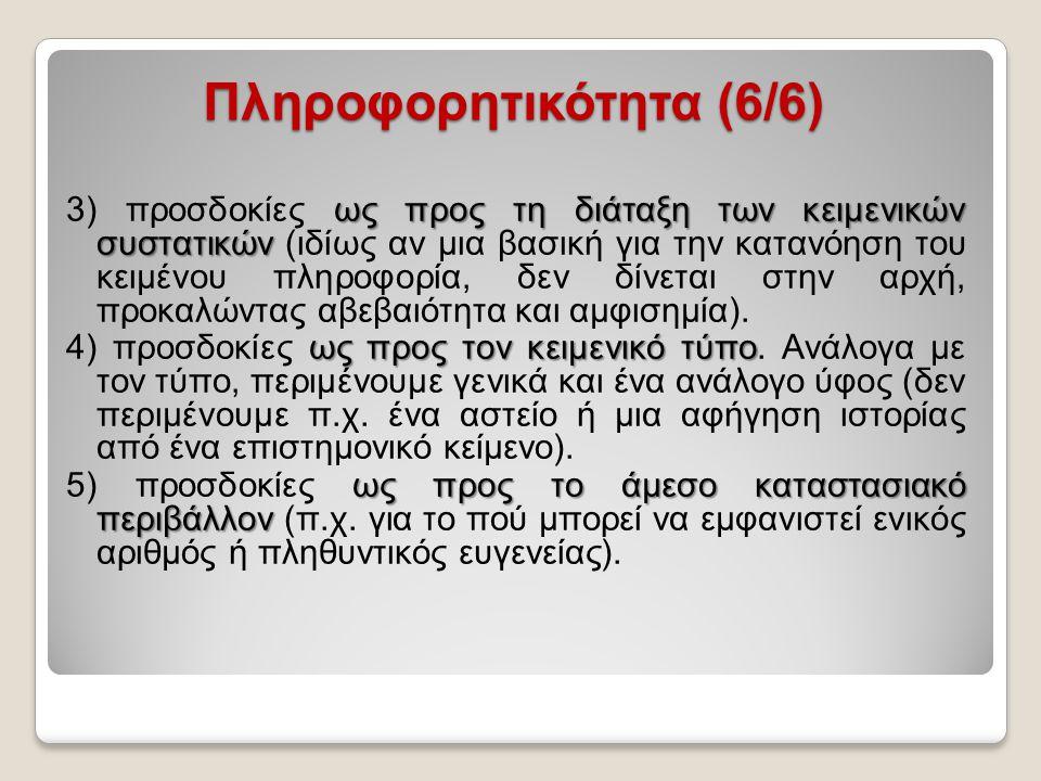 Πληροφορητικότητα (6/6) ως προς τη διάταξη των κειμενικών συστατικών 3) προσδοκίες ως προς τη διάταξη των κειμενικών συστατικών (ιδίως αν μια βασική γ