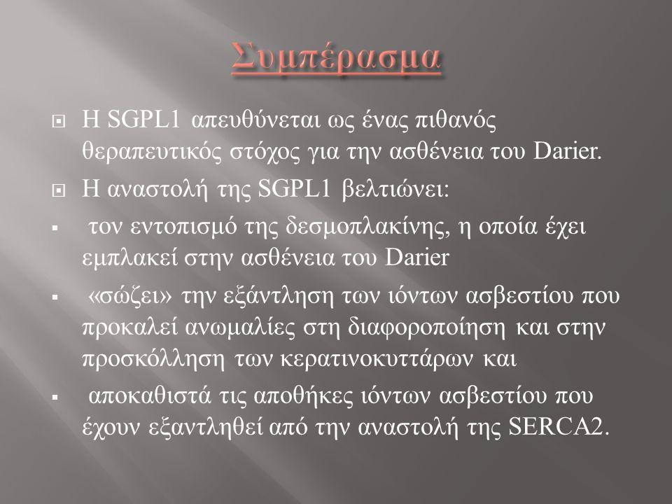  Η SGPL1 απευθύνεται ως ένας πιθανός θεραπευτικός στόχος για την ασθένεια του Darier.