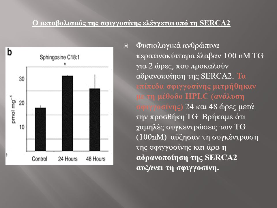  Άρα η αναστολή της SERCA2b μειώνει την έκφραση της SPHK1 και αναπαράγει ελαττώματα στην ανάπτυξη των κυττάρων, την προσκόλληση και τη διαφοροποίηση που εντοπίζονται στην ασθένεια του Darier.