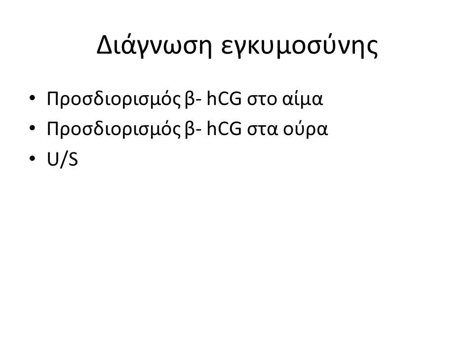 Διάγνωση εγκυμοσύνης Προσδιορισμός β- hCG στο αίμα Προσδιορισμός β- hCG στα ούρα U/S