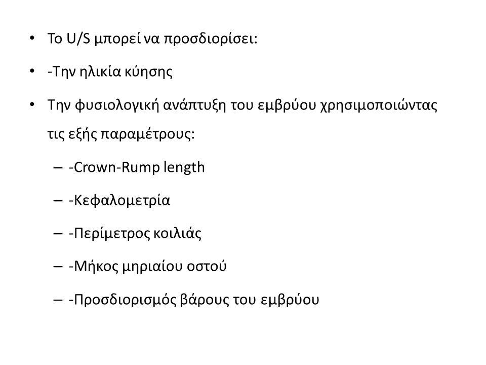 Το U/S μπορεί να προσδιορίσει: -Την ηλικία κύησης Την φυσιολογική ανάπτυξη του εμβρύου χρησιμοποιώντας τις εξής παραμέτρους: – -Crown-Rump length – -Κ