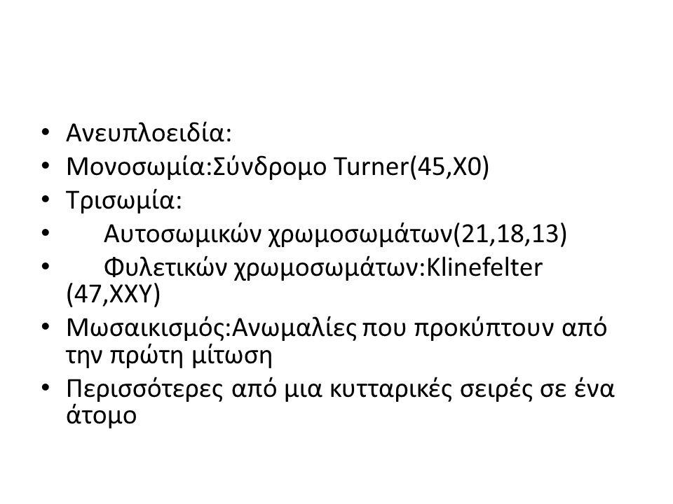 Ανευπλοειδία: Μονοσωμία:Σύνδρομο Turner(45,X0) Τρισωμία: Αυτοσωμικών χρωμοσωμάτων(21,18,13) Φυλετικών χρωμοσωμάτων:Κlinefelter (47,XXY) Μωσαικισμός:Αν
