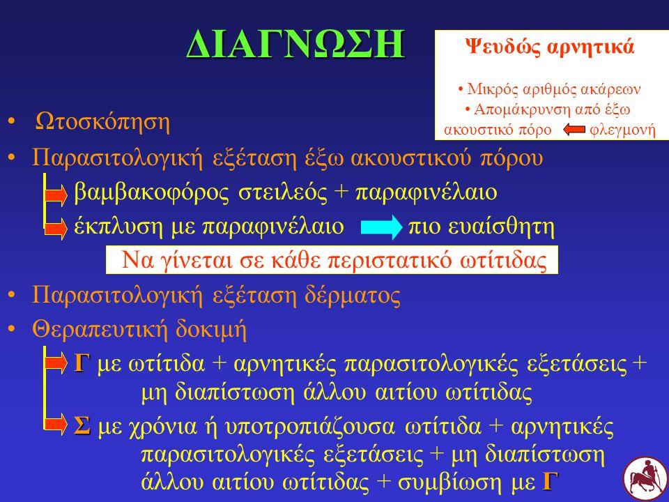ΔΙΑΦΟΡΙΚΗ ΔΙΑΓΝΩΣΗ Άλλα αίτια ωτίτιδας ΓΑτοπική δερματίτιδα ( ΠΡΟΣΟΧΗ: το 60% των Γ με ωτοδηκτική ψώρα αντιδρούν στα ακάρεα του σπιτιού στην ενδοδερμική δοκιμή !!!) ΓΤροφική αλλεργία-δυσανεξία (πολύ συχνό αίτιο αυτοτραυματικής δερματίτιδας της κεφαλής και του τραχήλου αλλά και ωτίτιδας στη Γ) ΑΨΔ Σαρκοπτική ψώρα Σεϋλετιέλλωση