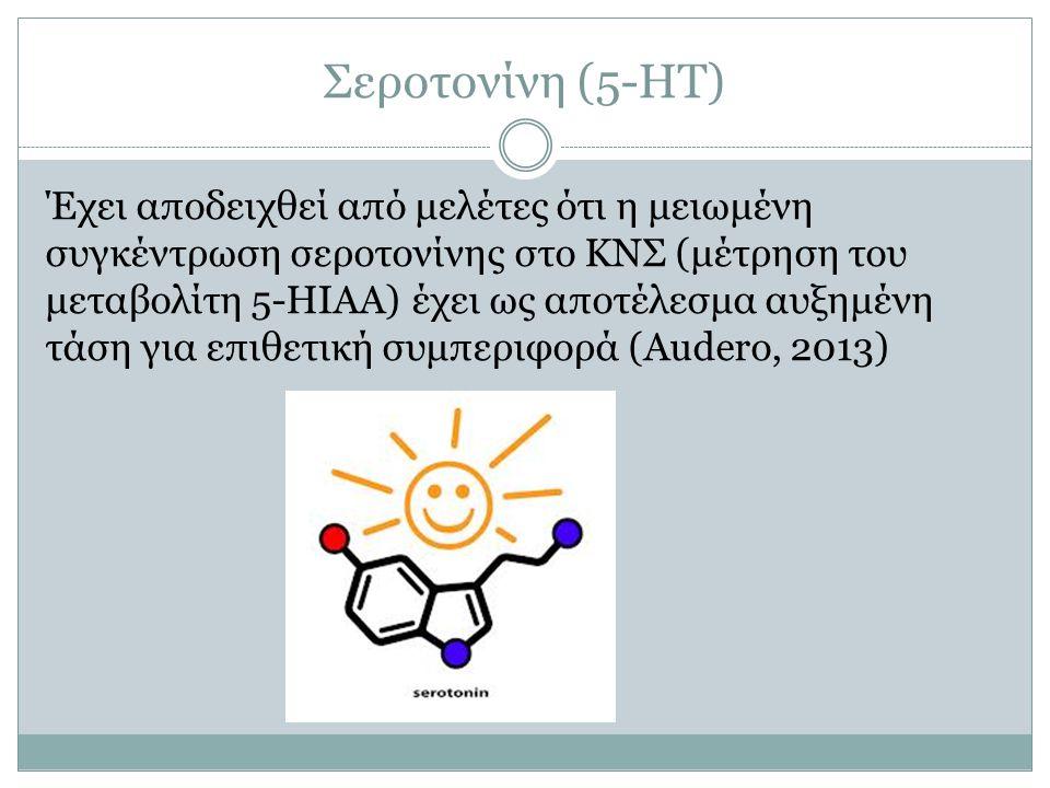 Έχει αποδειχθεί από μελέτες ότι η μειωμένη συγκέντρωση σεροτονίνης στο ΚΝΣ (μέτρηση του μεταβολίτη 5-ΗΙΑΑ) έχει ως αποτέλεσμα αυξημένη τάση για επιθετ