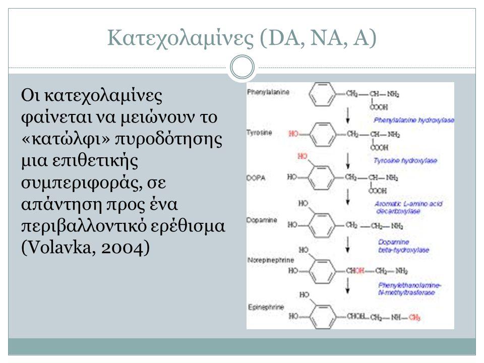 Κατεχολαμίνες (DA, NA, A) Οι κατεχολαμίνες φαίνεται να μειώνουν το «κατώλφι» πυροδότησης μια επιθετικής συμπεριφοράς, σε απάντηση προς ένα περιβαλλοντ