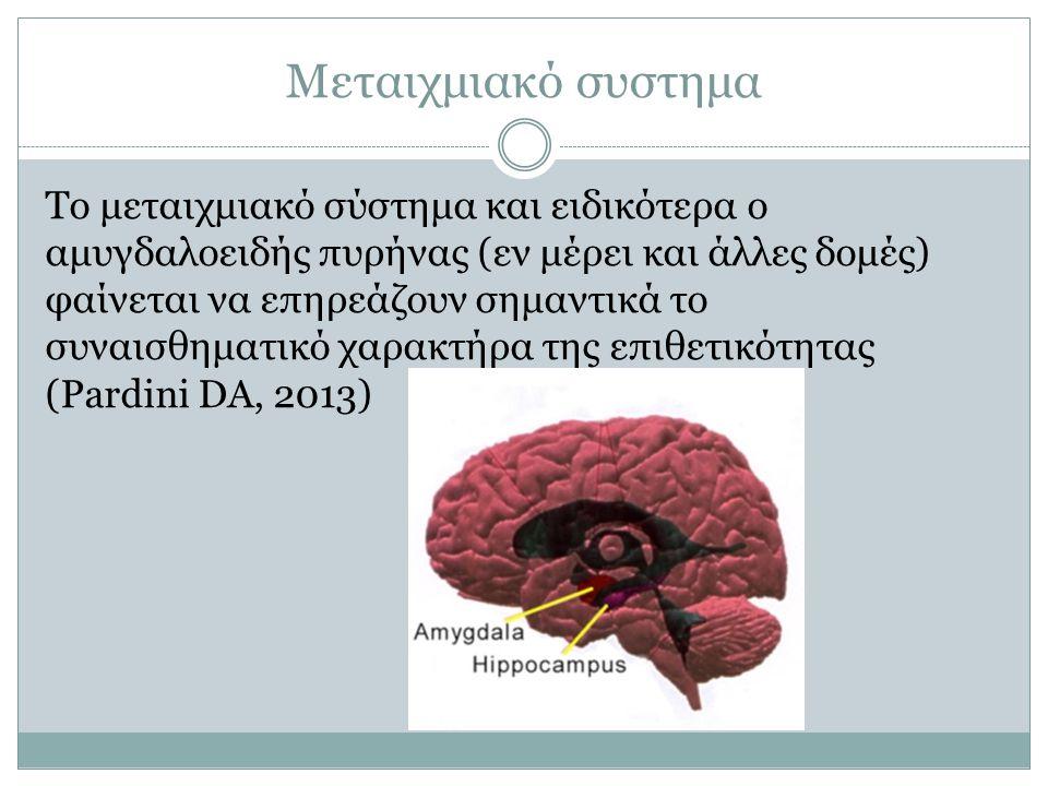 Μεταιχμιακό συστημα Το μεταιχμιακό σύστημα και ειδικότερα ο αμυγδαλοειδής πυρήνας (εν μέρει και άλλες δομές) φαίνεται να επηρεάζουν σημαντικά το συναι