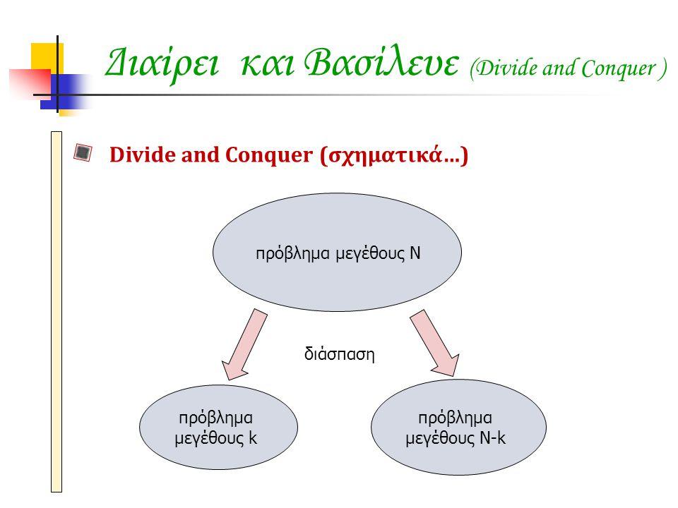 Divide and Conquer (σχηματικά…) πρόβλημα μεγέθους Ν διάσπαση πρόβλημα μεγέθους Ν-k πρόβλημα μεγέθους k
