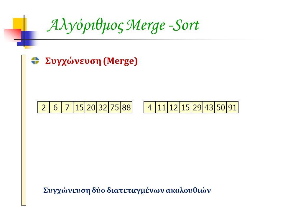 Συγχώνευση (Merge) Συγχώνευση δύο διατεταγμένων ακολουθιών 2671520327588411121529435091