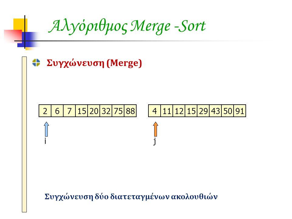 Αλγόριθμος Merge -Sort Συγχώνευση (Merge) 2671520327588411121529435091 ij Συγχώνευση δύο διατεταγμένων ακολουθιών