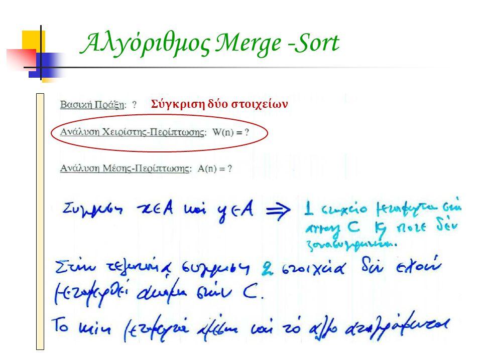 Αλγόριθμος Merge -Sort Σύγκριση δύο στοιχείων