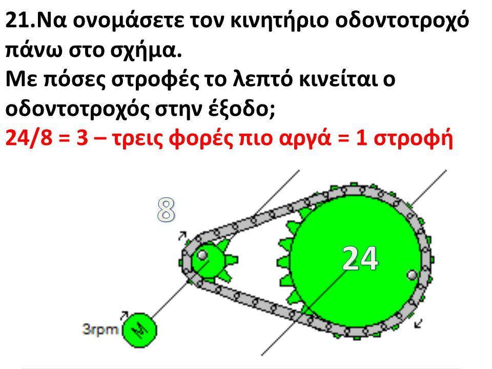 21.Να ονομάσετε τον κινητήριο οδοντοτροχό πάνω στο σχήμα. Με πόσες στροφές το λεπτό κινείται ο οδοντοτροχός στην έξοδο; 24/8 = 3 – τρεις φορές πιο αργ