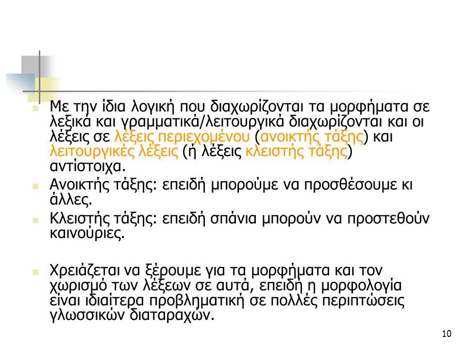 10 Με την ίδια λογική που διαχωρίζονται τα μορφήματα σε λεξικά και γραμματικά/λειτουργικά διαχωρίζονται και οι λέξεις σε λέξεις περιεχομένου (ανοικτής