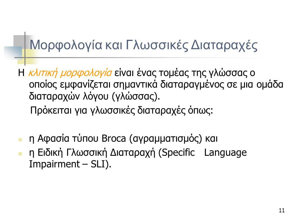 11 Μορφολογία και Γλωσσικές Διαταραχές Η κλιτική μορφολογία είναι ένας τομέας της γλώσσας ο οποίος εμφανίζεται σημαντικά διαταραγμένος σε μια ομάδα δι