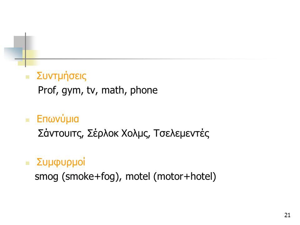 21 Συντμήσεις Prof, gym, tv, math, phone Επωνύμια Σάντουιτς, Σέρλοκ Χολμς, Τσελεμεντές Συμφυρμοί smog (smoke+fog), motel (motor+hotel)