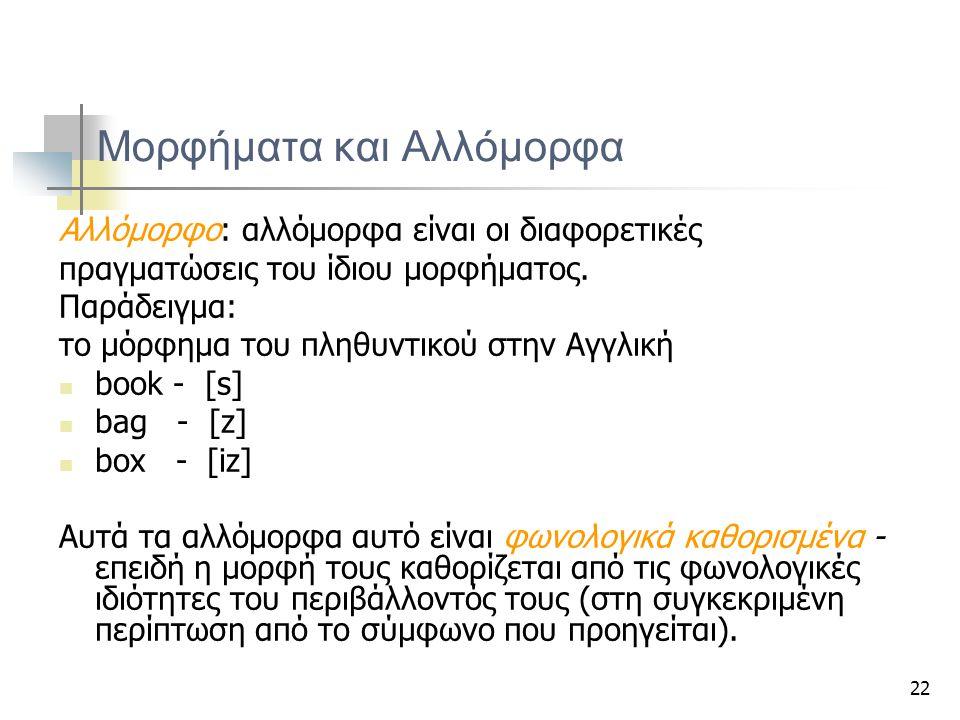 22 Μορφήματα και Αλλόμορφα Αλλόμορφο: αλλόμορφα είναι οι διαφορετικές πραγματώσεις του ίδιου μορφήματος. Παράδειγμα: το μόρφημα του πληθυντικού στην Α