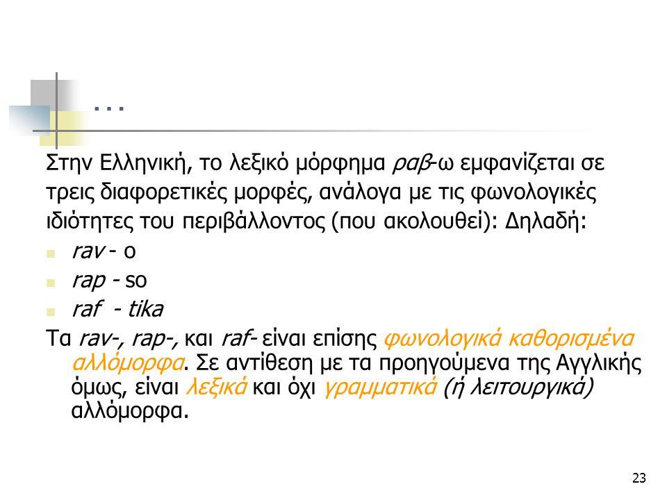 23 … Στην Ελληνική, το λεξικό μόρφημα ραβ-ω εμφανίζεται σε τρεις διαφορετικές μορφές, ανάλογα με τις φωνολογικές ιδιότητες του περιβάλλοντος (που ακολ
