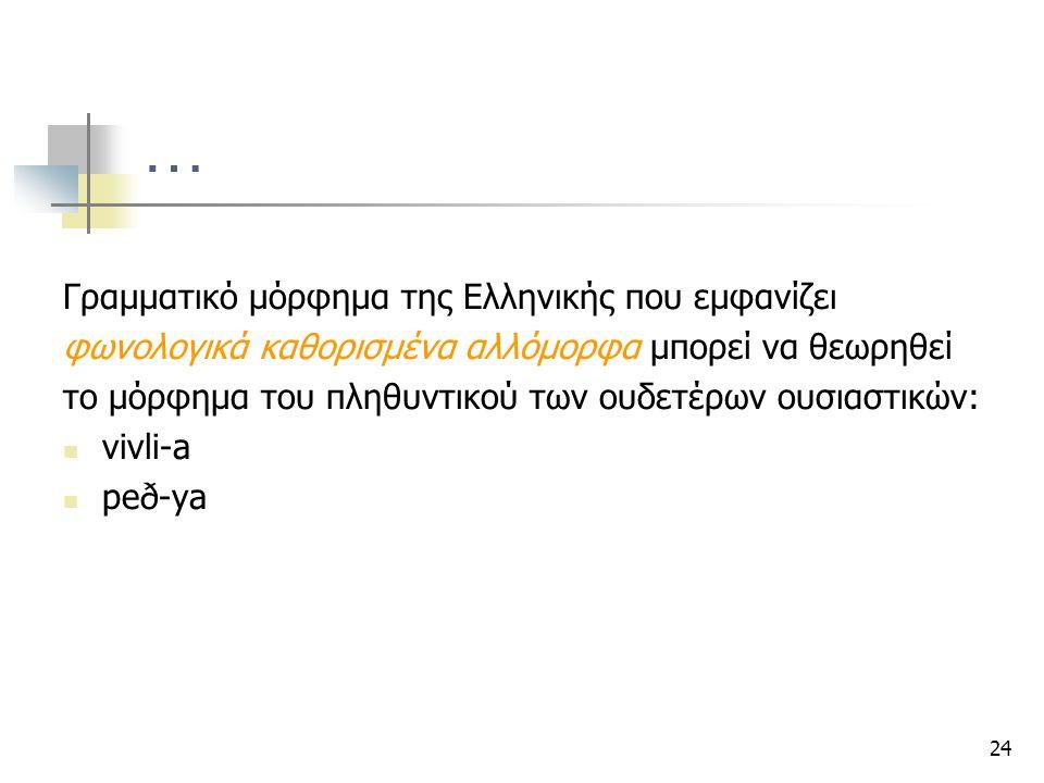 24 … Γραμματικό μόρφημα της Ελληνικής που εμφανίζει φωνολογικά καθορισμένα αλλόμορφα μπορεί να θεωρηθεί το μόρφημα του πληθυντικού των ουδετέρων ουσια