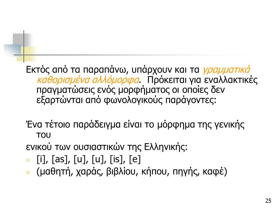 25 Εκτός από τα παραπάνω, υπάρχουν και τα γραμματικά καθορισμένα αλλόμορφα. Πρόκειται για εναλλακτικές πραγματώσεις ενός μορφήματος οι οποίες δεν εξαρ