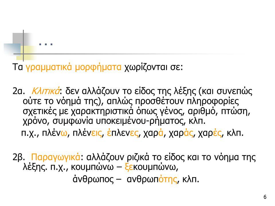 6 … Τα γραμματικά μορφήματα χωρίζονται σε: 2α. Κλιτικά: δεν αλλάζουν το είδος της λέξης (και συνεπώς ούτε το νόημά της), απλώς προσθέτουν πληροφορίες