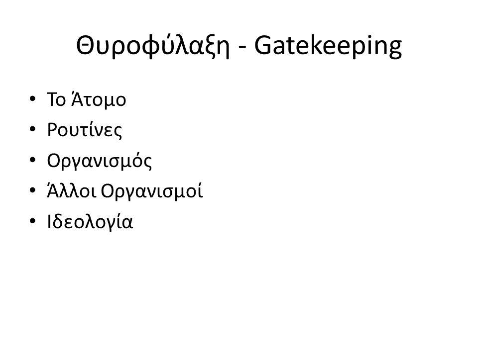 Θυροφύλαξη - Gatekeeping To Άτομο Ρουτίνες Οργανισμός Άλλοι Οργανισμοί Ιδεολογία