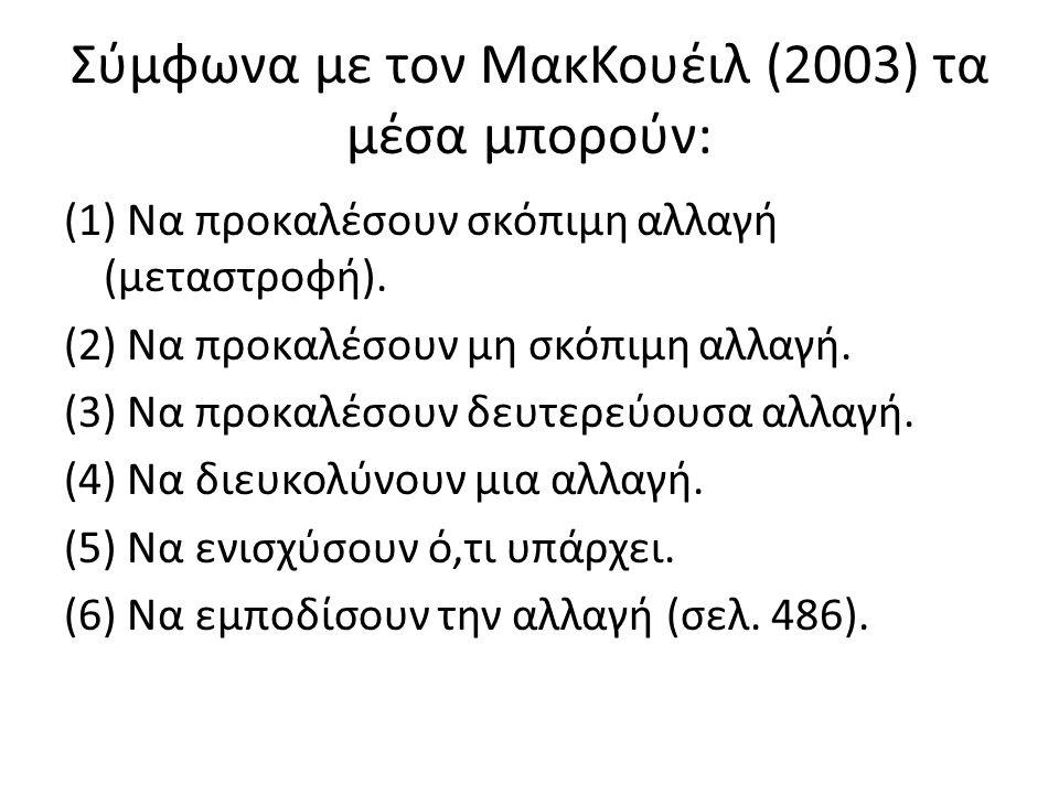Σύμφωνα με τον ΜακΚουέιλ (2003) τα μέσα μπορούν: (1) Να προκαλέσουν σκόπιμη αλλαγή (μεταστροφή).