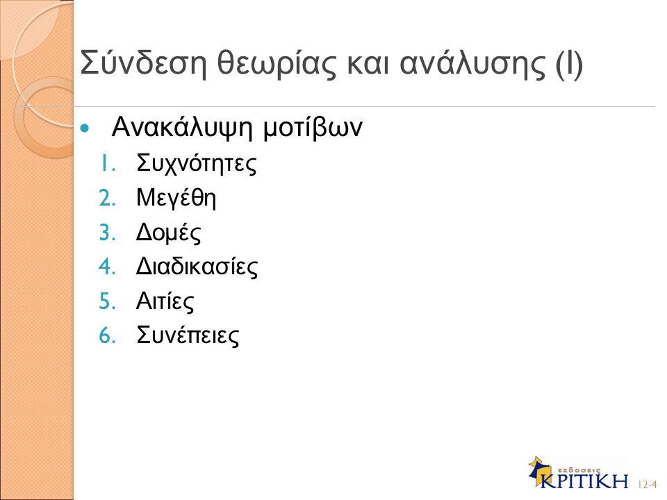 Διασταυρωμένη ανάλυση – Ανάλυση π ου π εριλαμβάνει την εξέταση π άνω α π ό μία π ερι π τώσεων, είτε μια ανάλυση π ροσανατολισμένη σε μεταβλητές είτε μια ανάλυση π ερι π τώσεων Προσανατολισμένη σε μεταβλητές ανάλυση – Ανάλυση π ου π εριγράφει και / ή εξηγεί μια συγκεκριμένη μεταβλητή Ανάλυση π ερί π τωσης – Μια ανάλυση π ου σκο π ό έχει να κατανοήσει μια ή π ερισσότερες π ερι π τώσεις εξετάζοντας ενδελεχώς τις λε π τομέρειες της καθεμιάς 12-5 Σύνδεση θεωρίας και ανάλυσης ( ΙΙ )