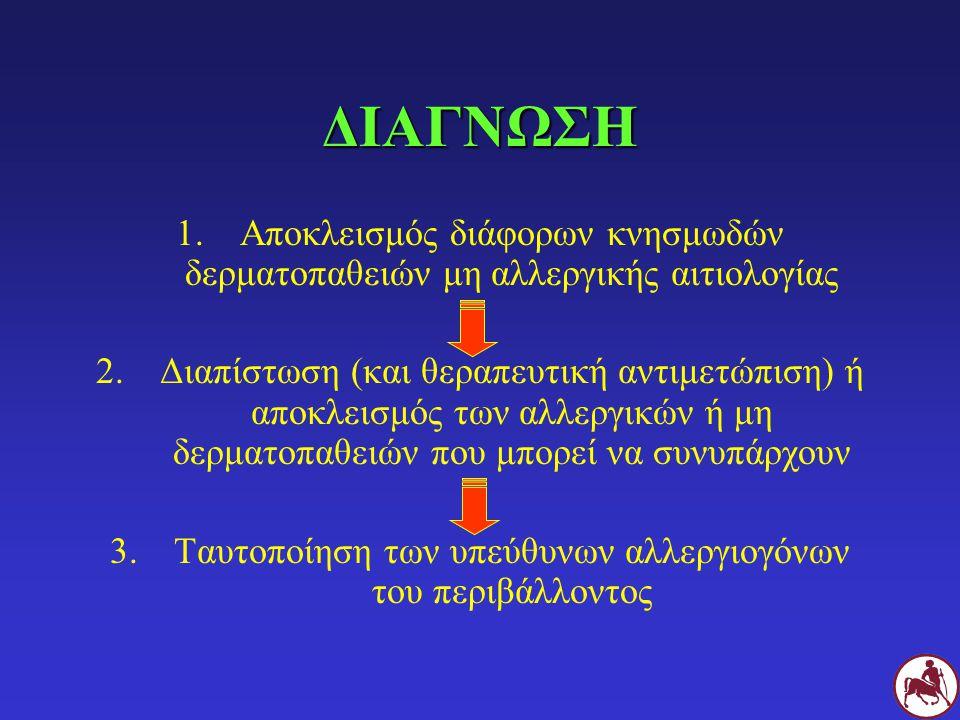 ΔΙΑΓΝΩΣΗ 1.Αποκλεισμός διάφορων κνησμωδών δερματοπαθειών μη αλλεργικής αιτιολογίας 2.Διαπίστωση (και θεραπευτική αντιμετώπιση) ή αποκλεισμός των αλλερ