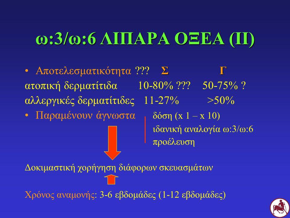ω:3/ω:6 ΛΙΠΑΡΑ ΟΞΕΑ (ΙΙ) ΣΓΑποτελεσματικότητα ??? Σ Γ ατοπική δερματίτιδα 10-80% ??? 50-75% ? αλλεργικές δερματίτιδες 11-27% >50% Παραμένουν άγνωστα δ