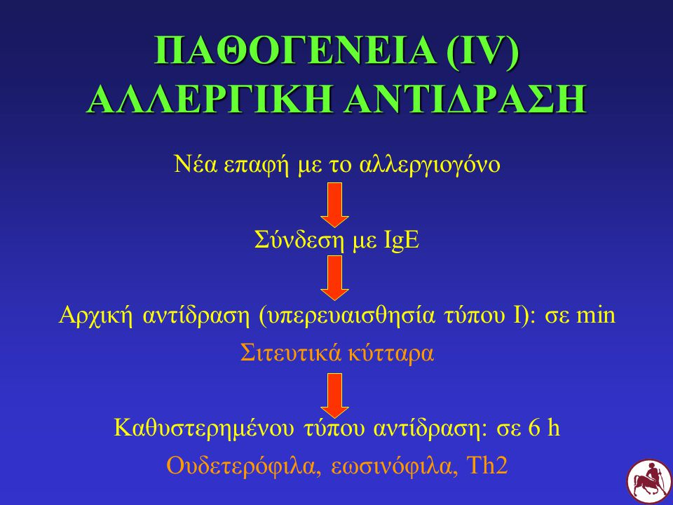 ΠΑΘΟΓΕΝΕΙΑ (V) ΑΡΧΙΚΗ ΑΝΤΙΔΡΑΣΗ (ΤΥΠΟΥ Ι) Ενεργοποίηση σιτευτικών κυττάρων ΠΡΟΣΧΗΜΑΤΙΣΜΕΝΕΣ ΟΥΣΙΕΣ Ισταμίνη Πρωτεάσες Εξωγλυκοσιδάσες ECF-A κλπ ΝΕΟΣΧΗΜΑΤΙΖΟΜΕΝΟΙ ΜΕΤΑΒΟΛΙΤΕΣ PG (PG 2 ) Θρομβοξάνες LT (LT 4 ) Υδροξυ-λιπαρά οξέα PAF κλπ