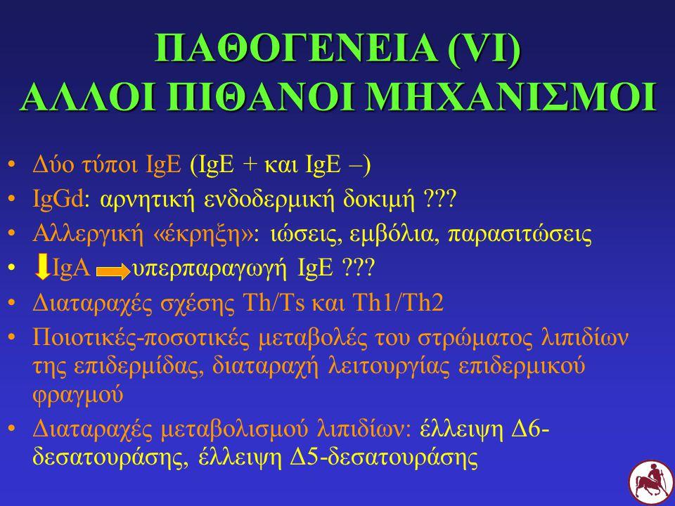 ΠΑΘΟΓΕΝΕΙΑ (VΙ) ΑΛΛΟΙ ΠΙΘΑΝΟΙ ΜΗΧΑΝΙΣΜΟΙ Δύο τύποι IgE (IgE + και IgE –) IgGd: αρνητική ενδοδερμική δοκιμή ??? Αλλεργική «έκρηξη»: ιώσεις, εμβόλια, πα