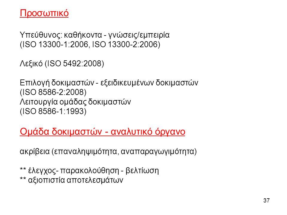 37 Προσωπικό Υπεύθυνος: καθήκοντα - γνώσεις/εμπειρία (ISO 13300-1:2006, ISO 13300-2:2006) Λεξικό (ISO 5492:2008) Επιλογή δοκιμαστών - εξειδικευμένων δ