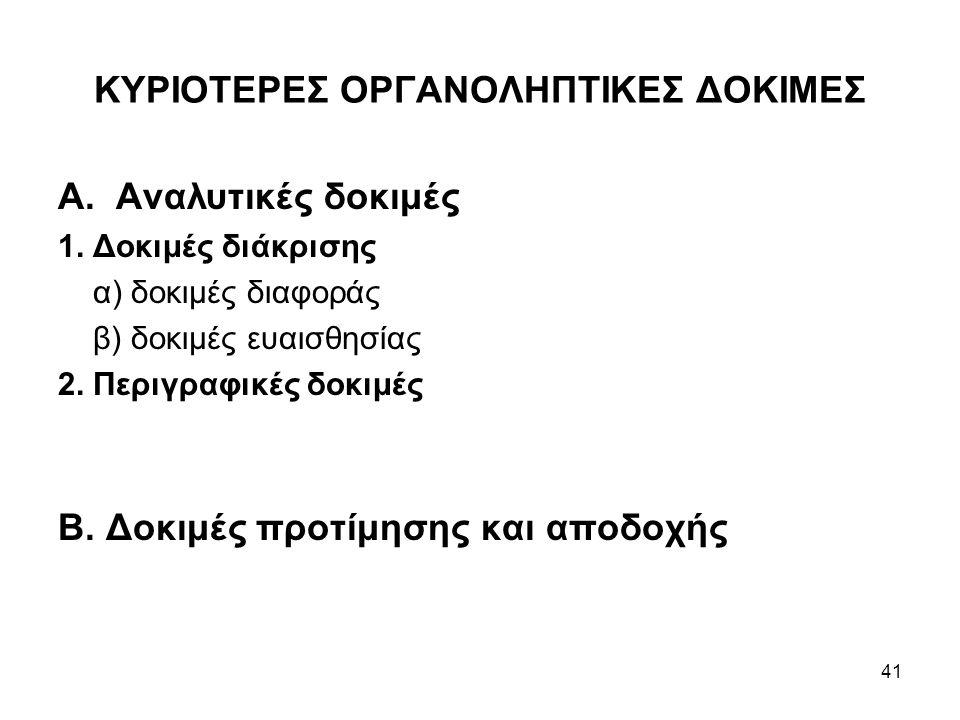 41 ΚΥΡΙΟΤΕΡΕΣ ΟΡΓΑΝΟΛΗΠΤΙΚΕΣ ΔΟΚΙΜΕΣ Α. Αναλυτικές δοκιμές 1. Δοκιμές διάκρισης α) δοκιμές διαφοράς β) δοκιμές ευαισθησίας 2. Περιγραφικές δοκιμές Β.