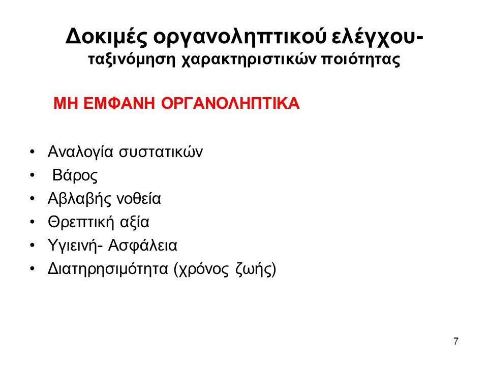 8 ΕΜΦΑΝΙΣΗ - Χρώμα Χρώμα - σημαντικότερο χαρακτηριστικό, άμεσα αντιληπτό - καθοριστικός παράγοντας επιλογής ή αξιολόγησης καταναλωτής: χρώμα/τρόφιμο, απόκλιση-υποβάθμιση - αύξηση αποδοχής - ωριμότητα, επεξεργασία - μεταβολές (γεύση/υφή, θρεπτικότητα) βιομηχανία: προϊόντα με σταθερό χρώμα βελτίωση χρώματος: φυσικό χρώμα, νέα προϊόντα