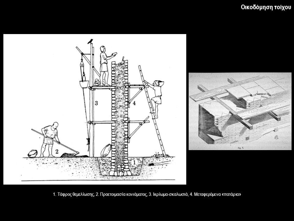 Οικοδόμηση τοίχου 1. Τάφρος θεμελίωσης, 2. Προετοιμασία κονιάματος, 3. Ικρίωμα-σκαλωσιά, 4. Μεταφερόμενα «πατάρια»