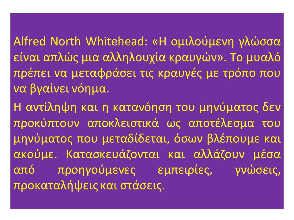 Alfred North Whitehead: «Η ομιλούμενη γλώσσα είναι απλώς μια αλληλουχία κραυγών». Το μυαλό πρέπει να μεταφράσει τις κραυγές με τρόπο που να βγαίνει νό
