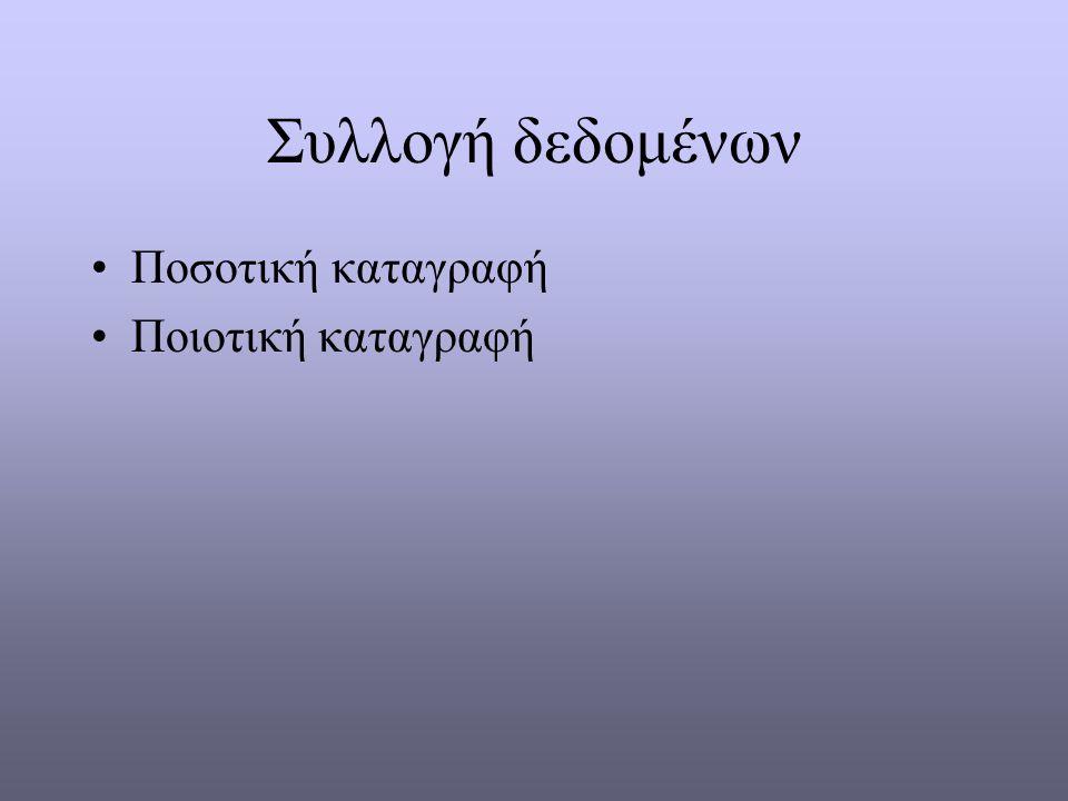 Συλλογή δεδομένων Ποσοτική καταγραφή Ποιοτική καταγραφή