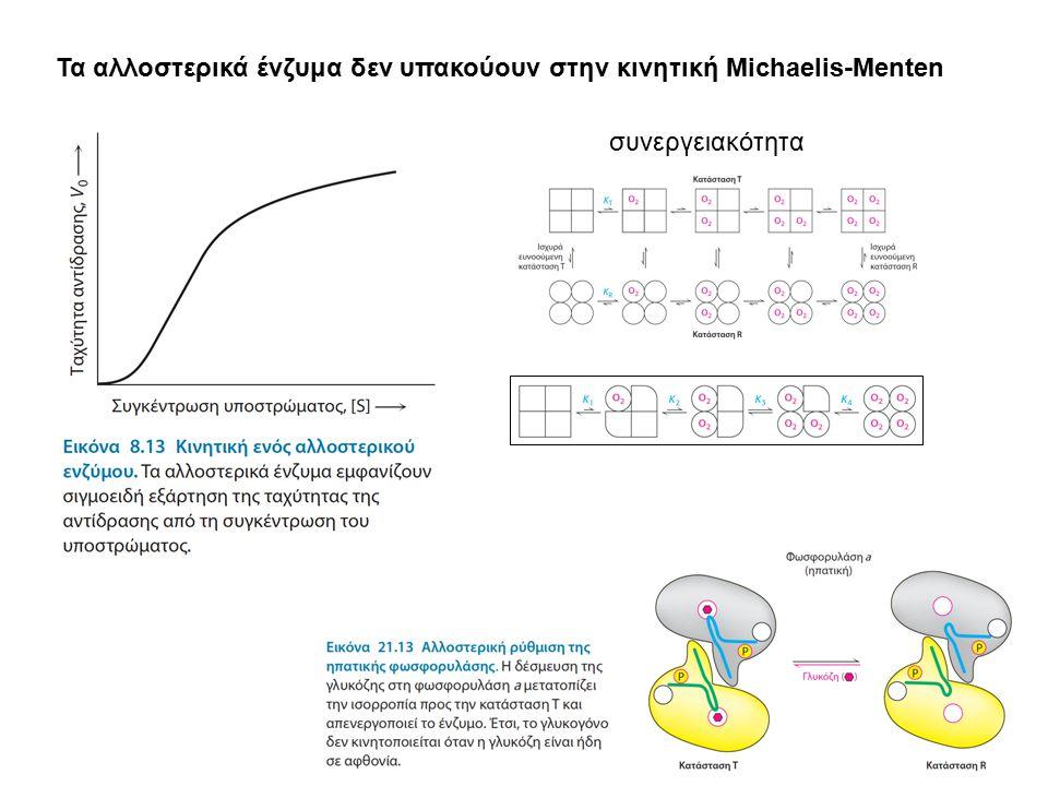 Τα αλλοστερικά ένζυμα δεν υπακούουν στην κινητική Michaelis-Menten συνεργειακότητα